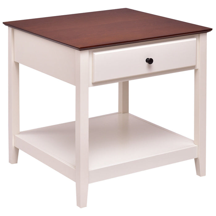 Square Wood Side End Table with Drawer and Shelf