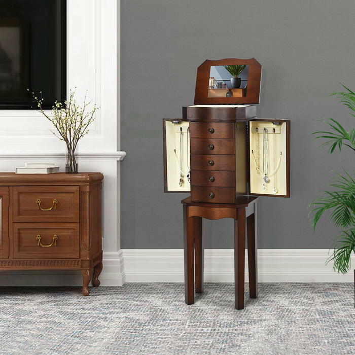 Armoire Storage Jewelry Cabinet with 5 Drawers & Mirror