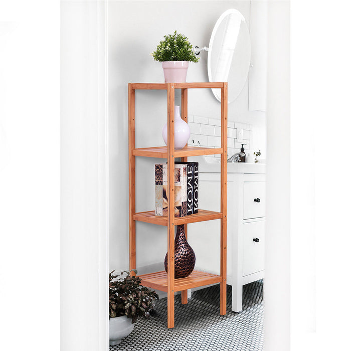 4 Tiers Multifunction Bamboo Storage Shelving Towel Rack