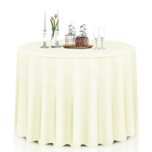 "10 pcs 90"" Home Restaurant Polyester Round Tablecloth"