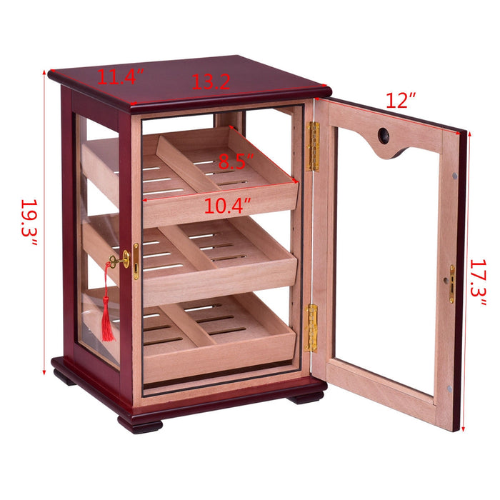 150 Cigars Display Humidor Storage Cabinet with Hygrometer