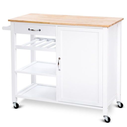 4-Tier Wood Drawer Kitchen Cart with Storage Shelf and Casters