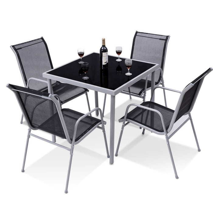 5 Pieces Bistro Set Garden Chairs and Table Set