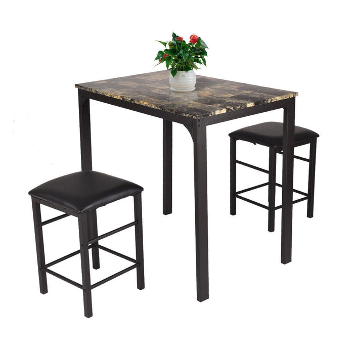 Surprising 3 Piece Counter Height Dining Set Faux Marble Table Ibusinesslaw Wood Chair Design Ideas Ibusinesslaworg