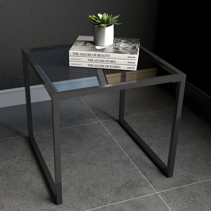 Living Room Square Side End Table with Tempered Glass Top