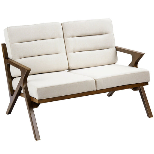 Fabric Loveseat Armchair Upholstered Wooden Lounge Chair