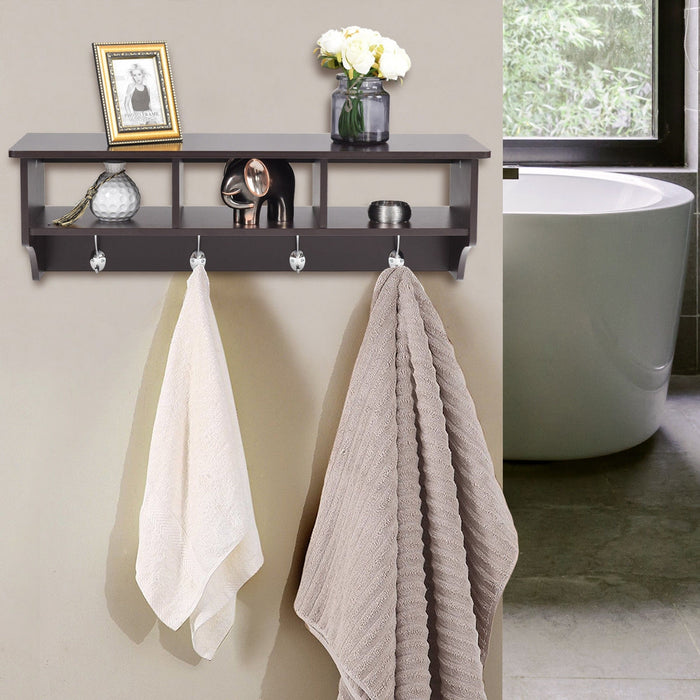 Wall Mount Hooks Shelf for Entryway Storage