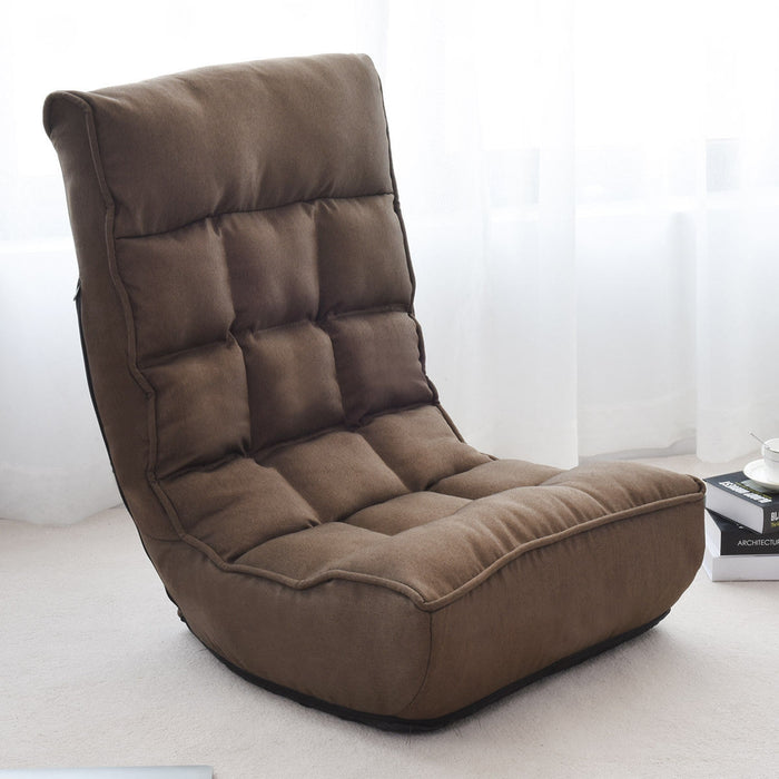 4-Position Adjustable Floor Chair Folding Lazy Sofa