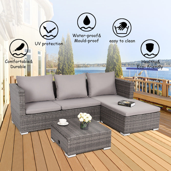 3 pcs Steel Frame Adjustable Seat Rattan Wicker Sofa Furniture Set