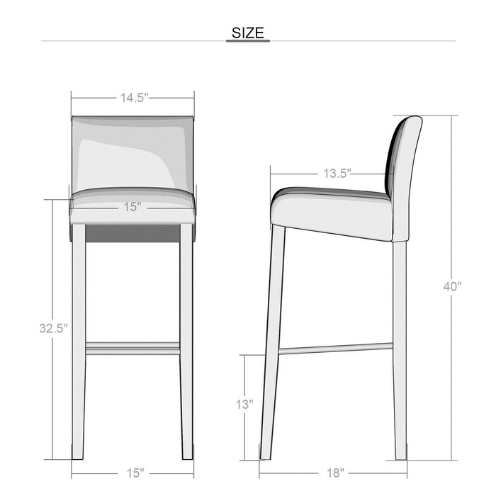 Set of 2 Padded Seat Bar Stool Chair with Solid Wood Legs