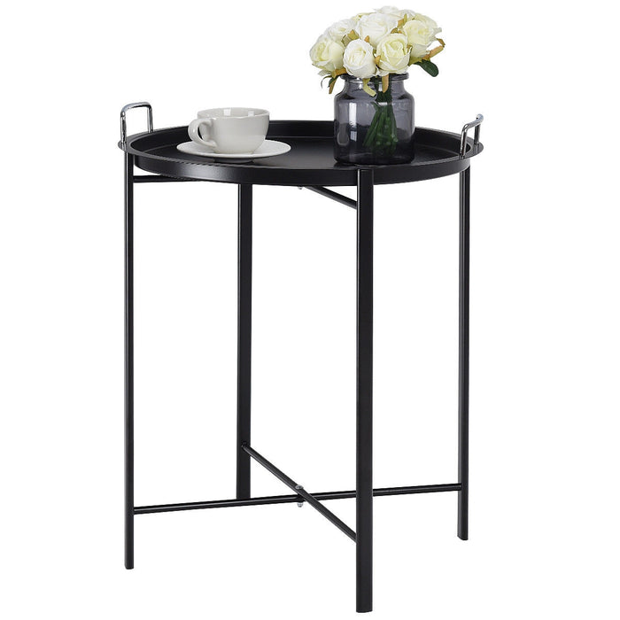 Round Metal Tray Side Living Room End Table