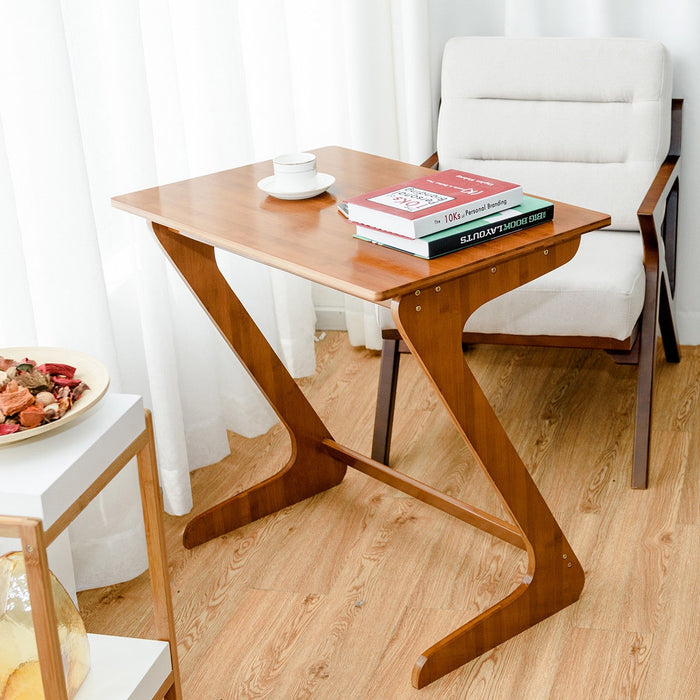 """Z"" Shape Bamboo Sofa Table Laptop Desk End Table"