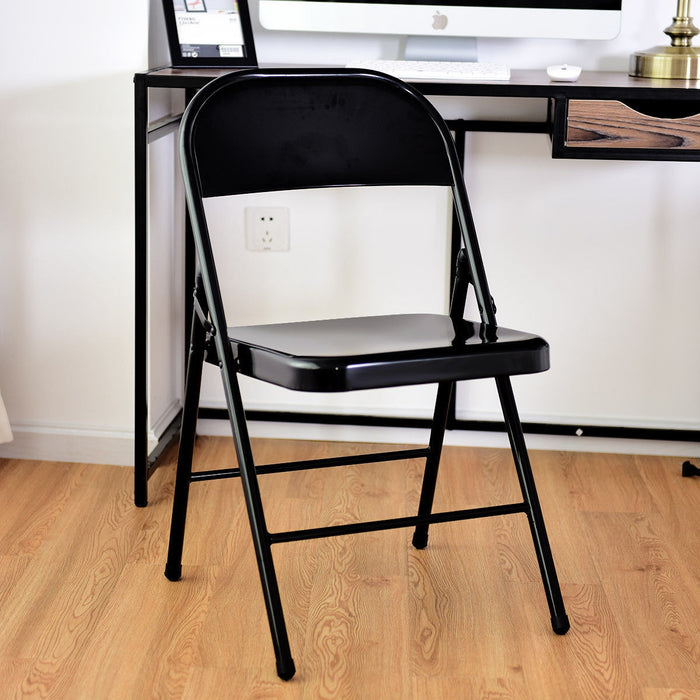 Set of 4 Steel Frame Heavy Duty Armless Folding Chairs