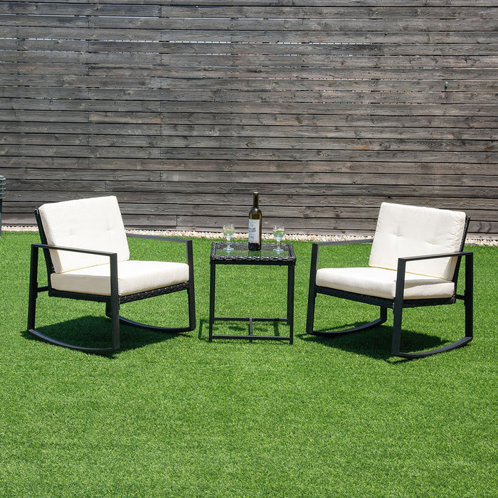 3 pcs Rattan Wicker Rocking Chair Set Garden with Cushions