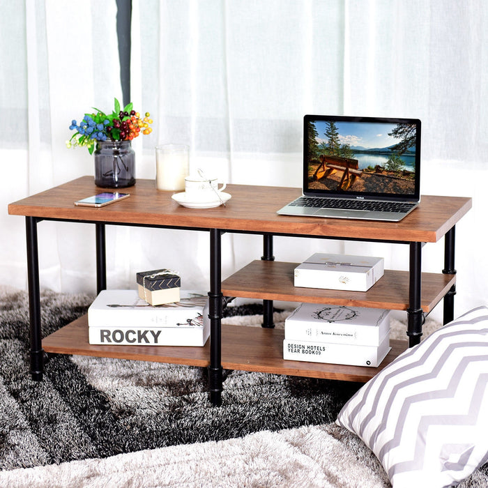 3-Tier Metal Frame Coffee Table with Storage Shelves