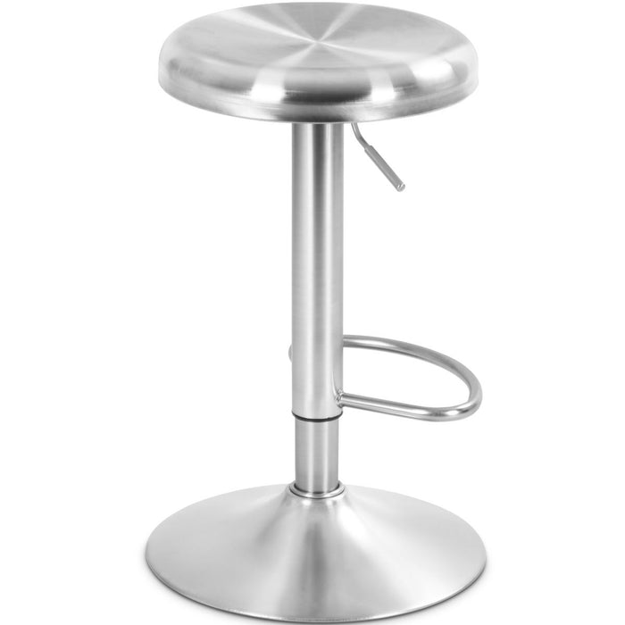 Brushed Stainless Steel Bar Stool Adjustable Height Round Top