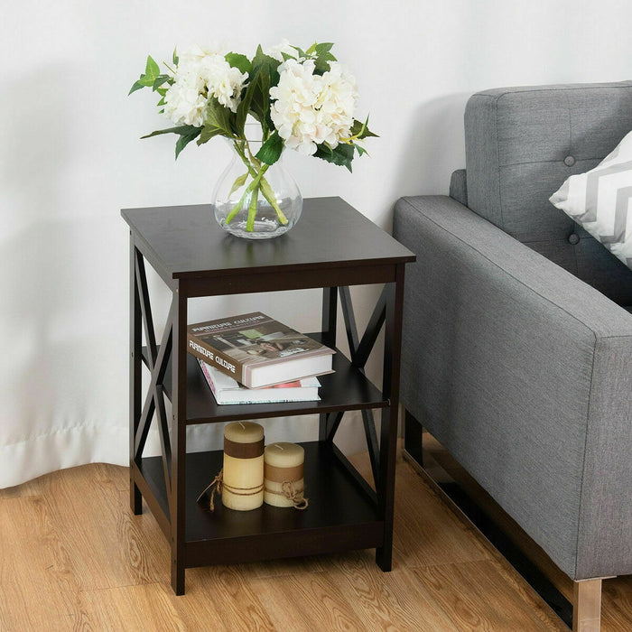 2PCS 3-Tier Display Storage End Table-Espresso
