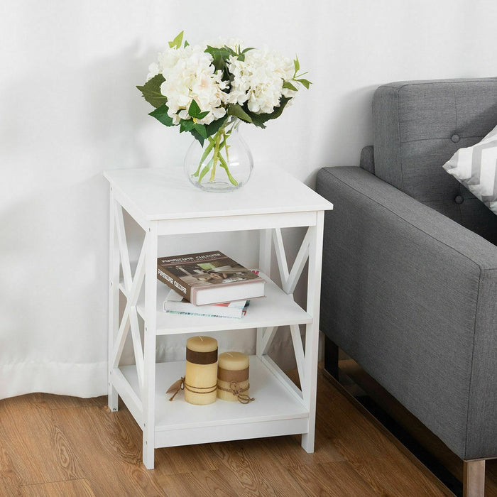 2PCS 3-Tier Display Storage End Table-White