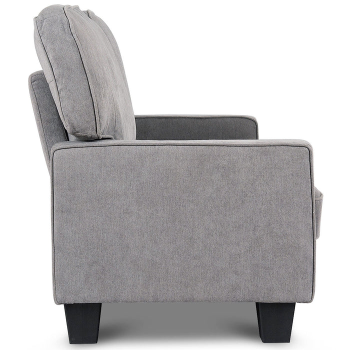 Home Living Room Upholstered Curved Armrest Fabric Sofa