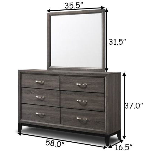 6 Drawers Luxury Home Storage Dresser Mirror Set