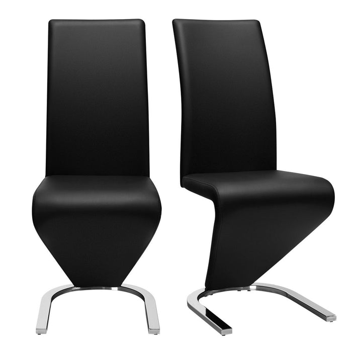 2 pcs High Back W-U - Shaped PU Leather Dining Chairs