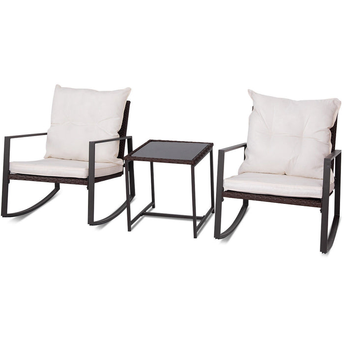 3 pcs Patio Rocking Outdoor Rattan Chair Set with Cushion