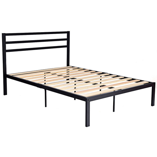 Full Size Steel Bed Frame with Stable Platform and Wooden Slats