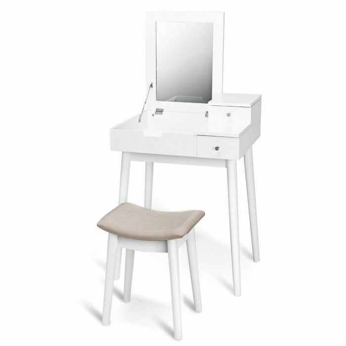 Vanity Dressing Table Set Flip Mirror Desk Furniture Stool