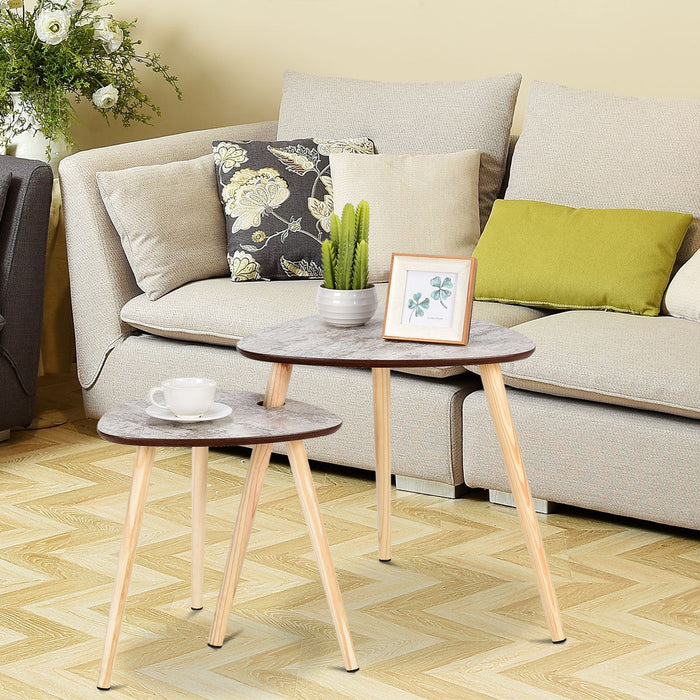 2 pcs Living Room Nesting End Coffee Tables with Wooden Leg