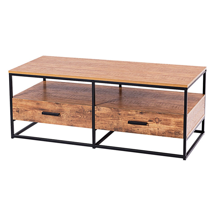 "47"" 2-Tier Cocktail 2 Drawer Coffee Table Metal Desk"