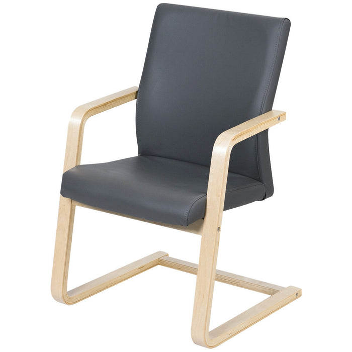 PU Leather Armrest Upholstered Dining Chair with Wood Leg