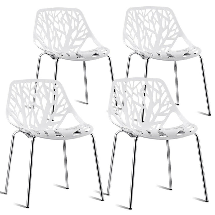 Set of 4 Dining Birch Sapling Accent Armless Side Chairs