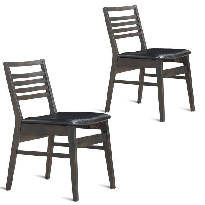 Set of 2 Armless PU Leather Dining Side Chairs