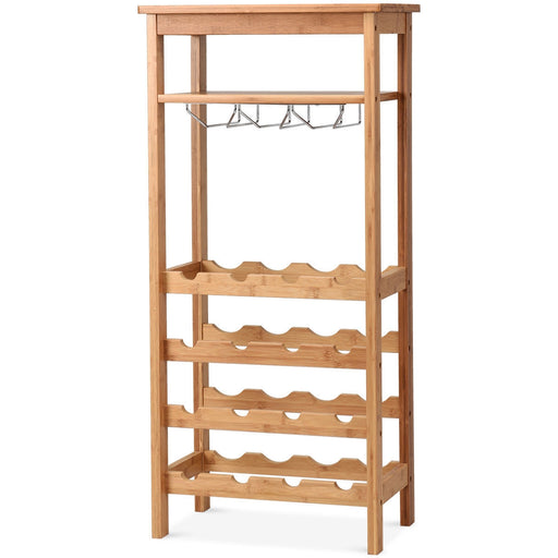16 Bottles Bamboo Storage Wine Rack with Glass Hanger
