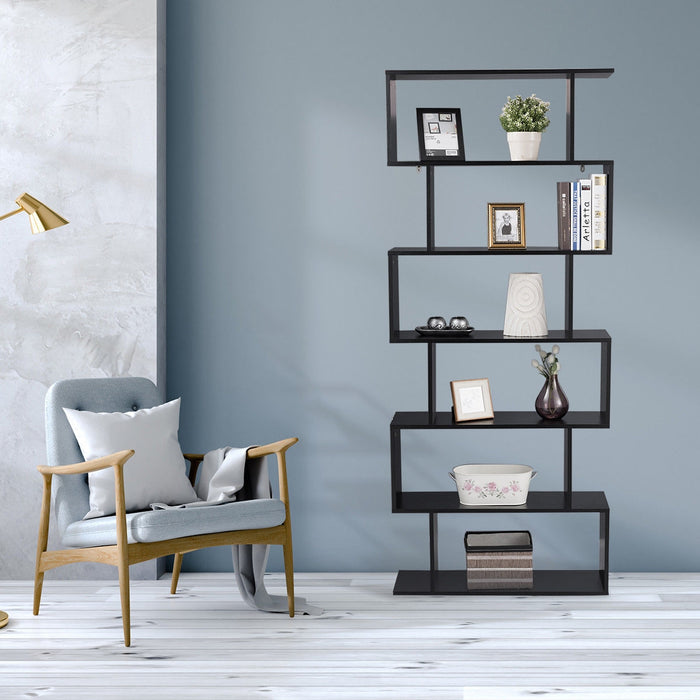 6-Tier S-Shaped Bookcase Z-Shelf Style Storage Bookshelf