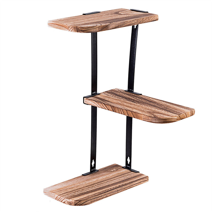 Wall Corner Shelves 3-Tier Rustic Wood Floating Storage Shelves