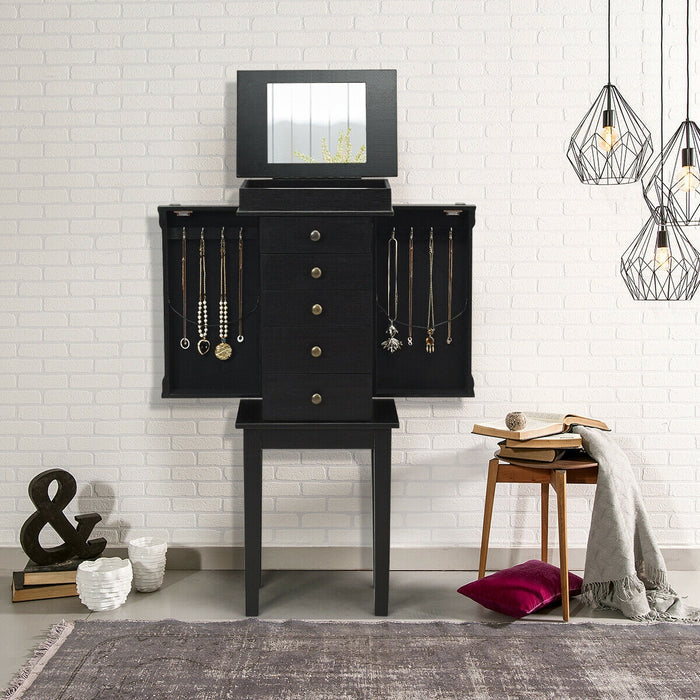 Standing Jewelry Cabinet Storage Organizer with Wooden Legs