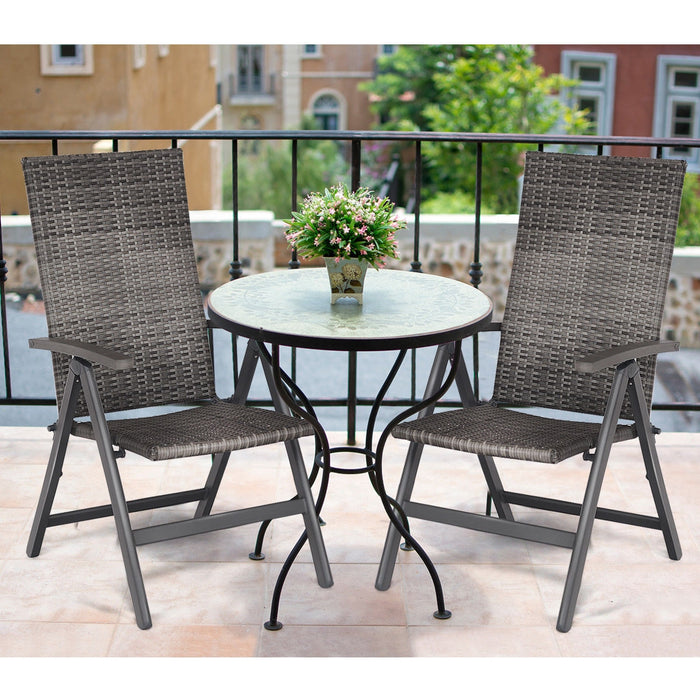2 pcs Rattan Folding Reclining  Outdoor Wicker Portable Chairs
