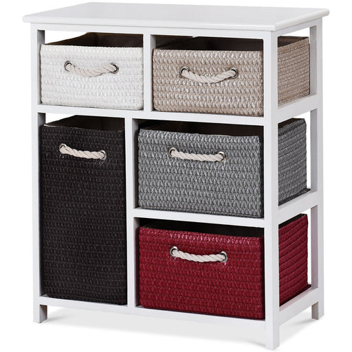 Storage Drawer Cabinet Chest with 5 Woven Baskets