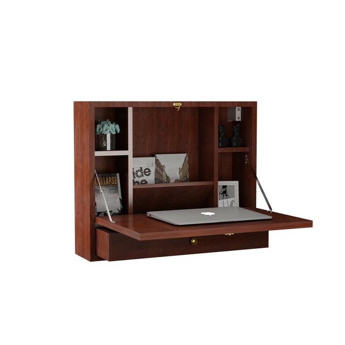 Wall Mounted Folding Laptop Desk Hideaway Storage with Drawer