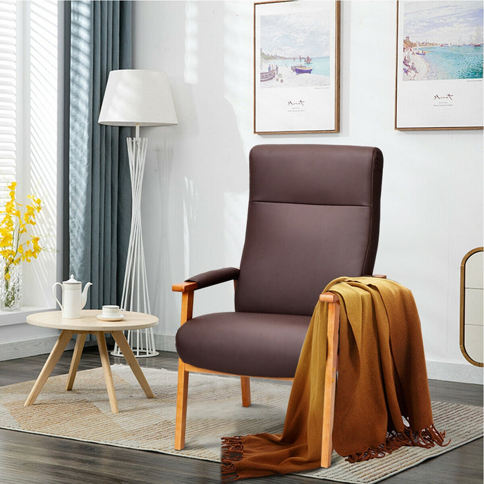 PU Leather Arm Chair Lounge High Back Solid Wood Frame