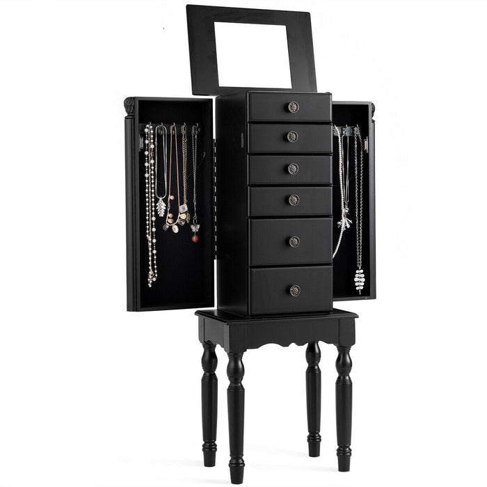 Armoire Storage Box Chest Standing Jewelry Cabinet