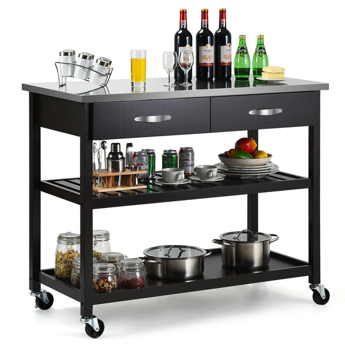 Stainless Steel Rolling Kitchen Island Trolley Cart