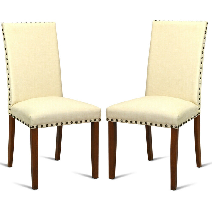 Set of 2 High Back Armless Fabric Dining Chairs