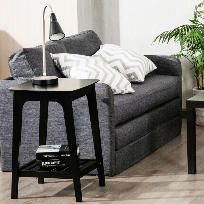 Set of 2 Side End Tables with Lower Storage Shelf
