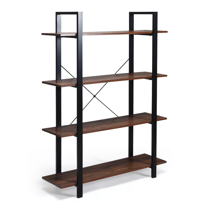 4-Tiers Bookshelf Industrial Bookcases Metal Frame Shelf Stand