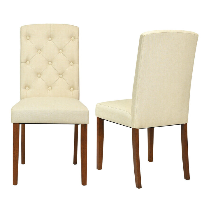Set of 2 Modern Accent Fabric Dining Chairs