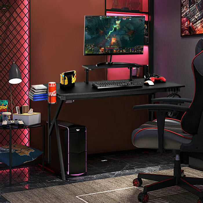 Gaming PC Table Workstation with Cup Holder & Headphone Hook