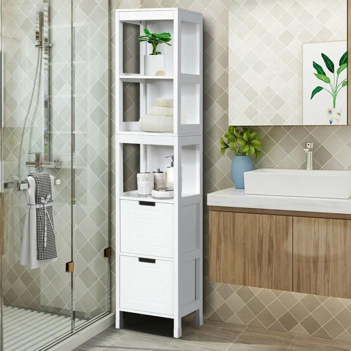 5-Tier Multifunctional  Bathroom Floor Cabine Storage with 2 Drawers