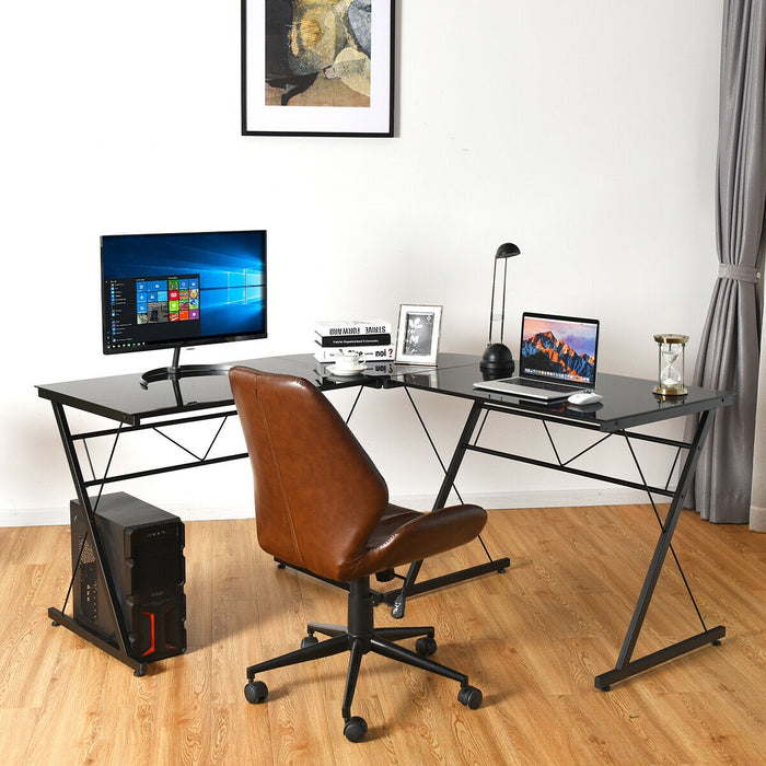 L-Shape Computer Desk Tempered Glass Laptop Table Home Office